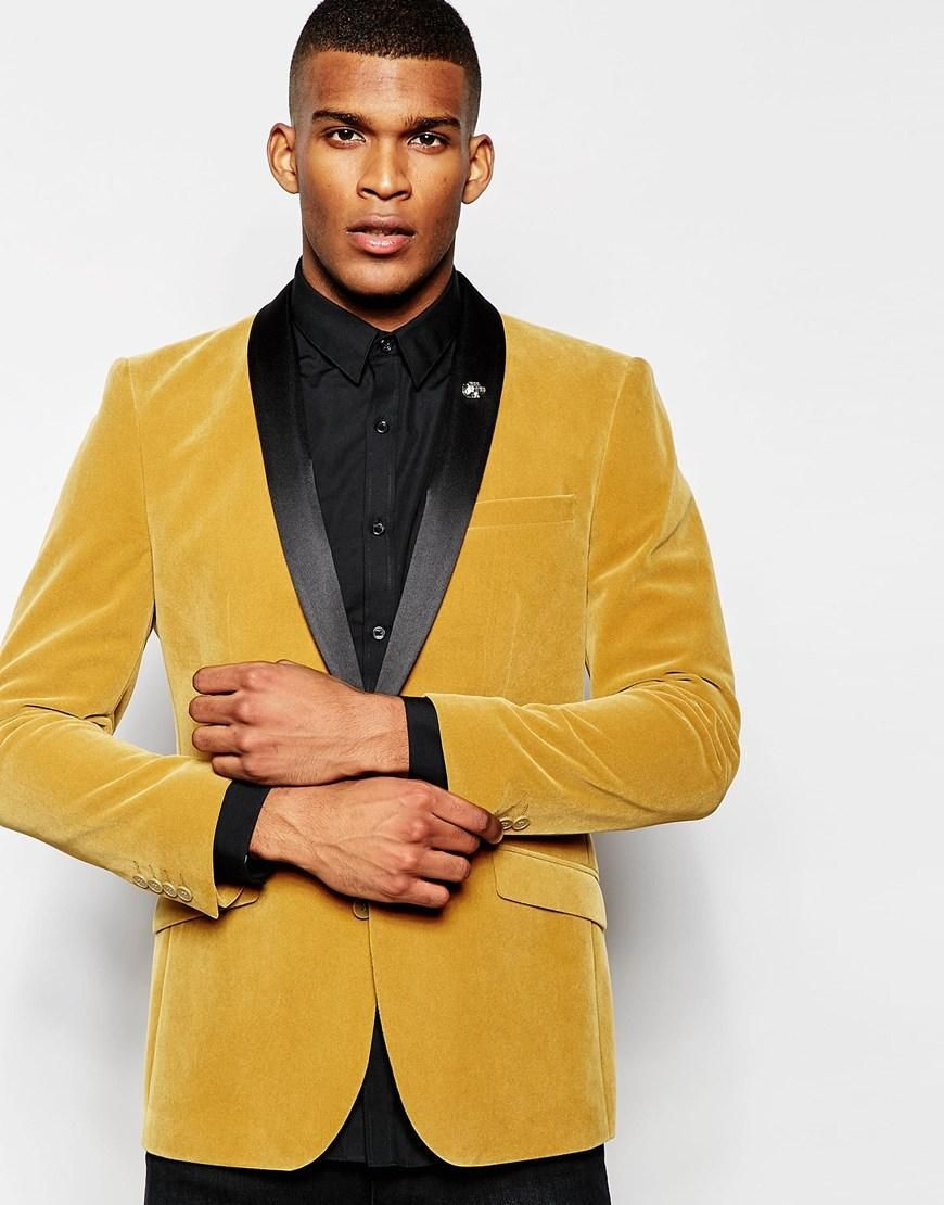 Latest Coat Pant Design Gold Yellow Velvet Shawl Lapel Men Suit Slim ...