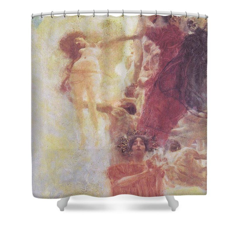 Klimt Shower Curtain Featuring The Painting Painted Composition Design To Medicine By Gustav