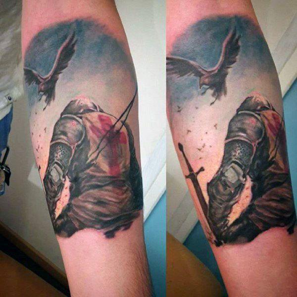 England Sleeve Tattoo Designs: Top 80 Best Knight Tattoo Designs For Men