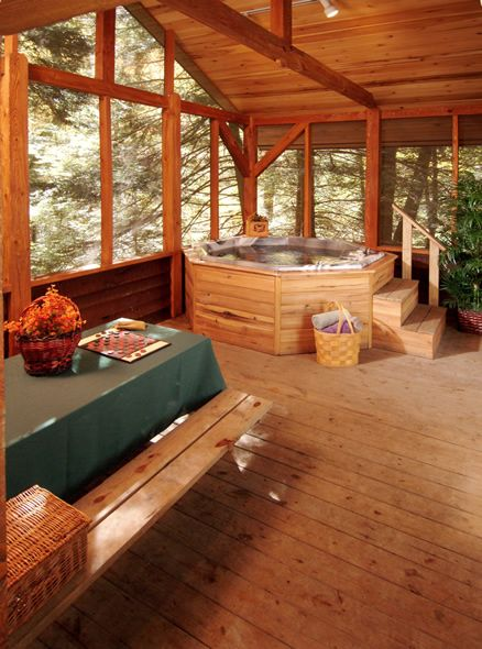 our cabins have hot tubs and awesome screened in porches cabin retreats pinterest hot tubs. Black Bedroom Furniture Sets. Home Design Ideas