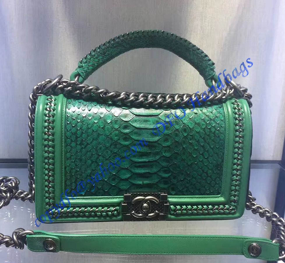 cd8650908a08 Boy Chanel Flapbag with handle in Green Python Leather and Ruthenium Metal  Hardware