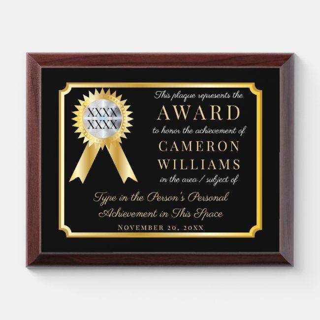 Gold Ribbon Gold Frame on Black Achievement Award #graduate #graduation #employee #teacher #lifetime