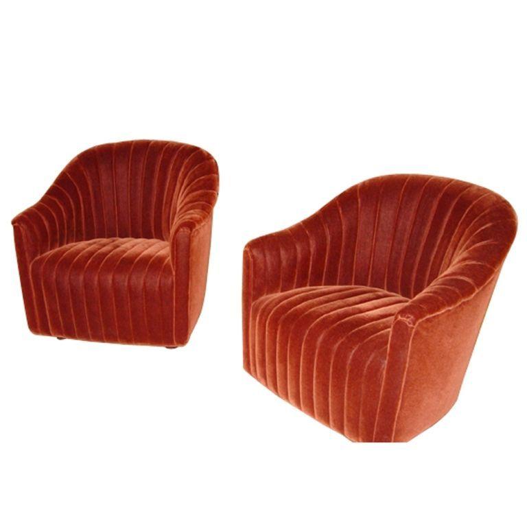 Incroyable Pair Of Ward Bennett For Brickel Velvet Swivel Lounge Chairs Metro Retro,  Houston