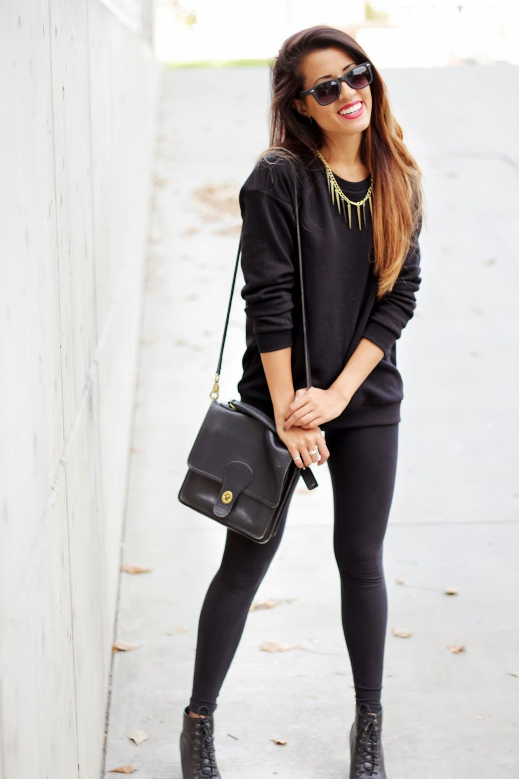 Fall Outfitblack boots black leggings black sweater ...