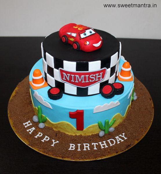 Disney Pixar Cars Lightning Mcqueen Theme Personalized Designer 2 Layer Fondant Cake With 3d Mcqueen For Boy Lightning Mcqueen Cake Cake Cartoon Birthday Cake