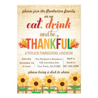 thanksgiving potluck invite Potluck Invitations Thanksgiving