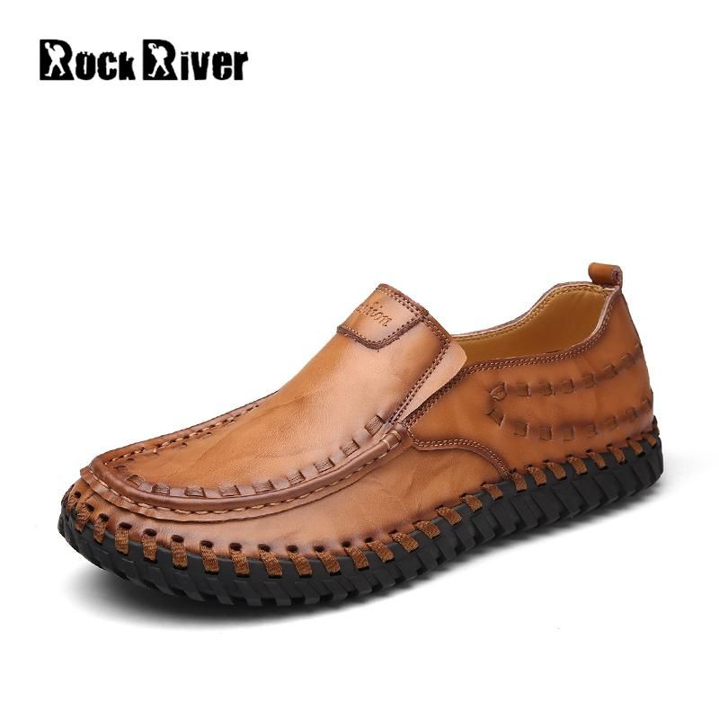 b7594a499c6d73 Leather · Rock River Brand Genuine Leather Mens Casual Shoes Handmade  Breathable Office Men Loafers ...
