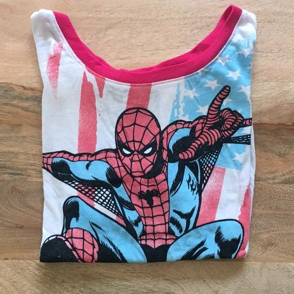 Marvel Spider-Man Cropped Tee If you're anything like me, you're a sucker for superhero tees. This is a Marvel Spider-Man tee with an American flag backdrop. Originally purchased at Target and worn a total of two times. Has previously been washed, so the labeling on the tee is worn. Throw on some highwaisted jeans and sunglasses and you're ready to save the day!  Tops Tees - Short Sleeve