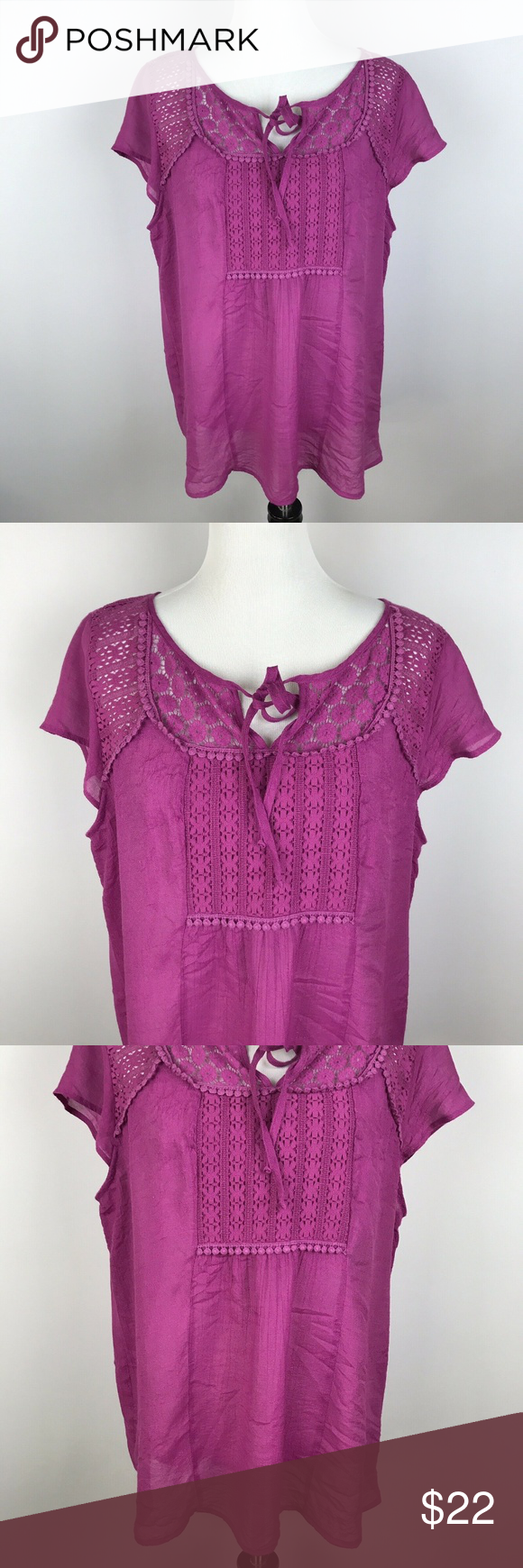 dc6e73920f25e2 Anthropologie Fig and Flower Short Sleeve Top 1X Anthropologie Fig and Flower  Short Sleeve Top Plus