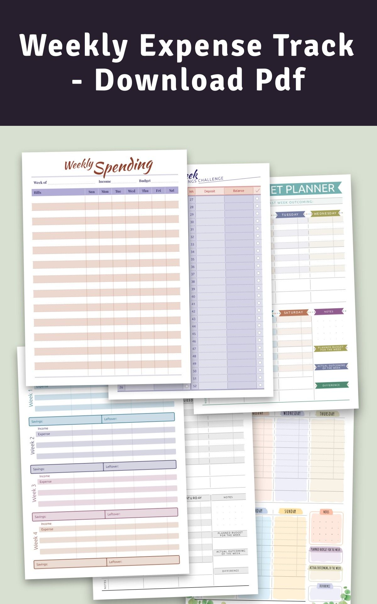 Weekly Expense Track Download Pdf in 2020 Weekly