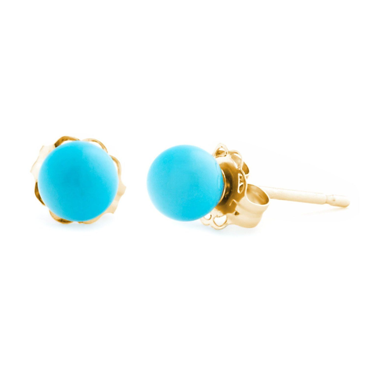 4e3216b0b 4mm Sleeping Beauty Turquoise Ball Stud Post Earrings, Solid 14K White or Yellow  Gold, Small Blue Turquoise Bridal Ball Stud Earrings