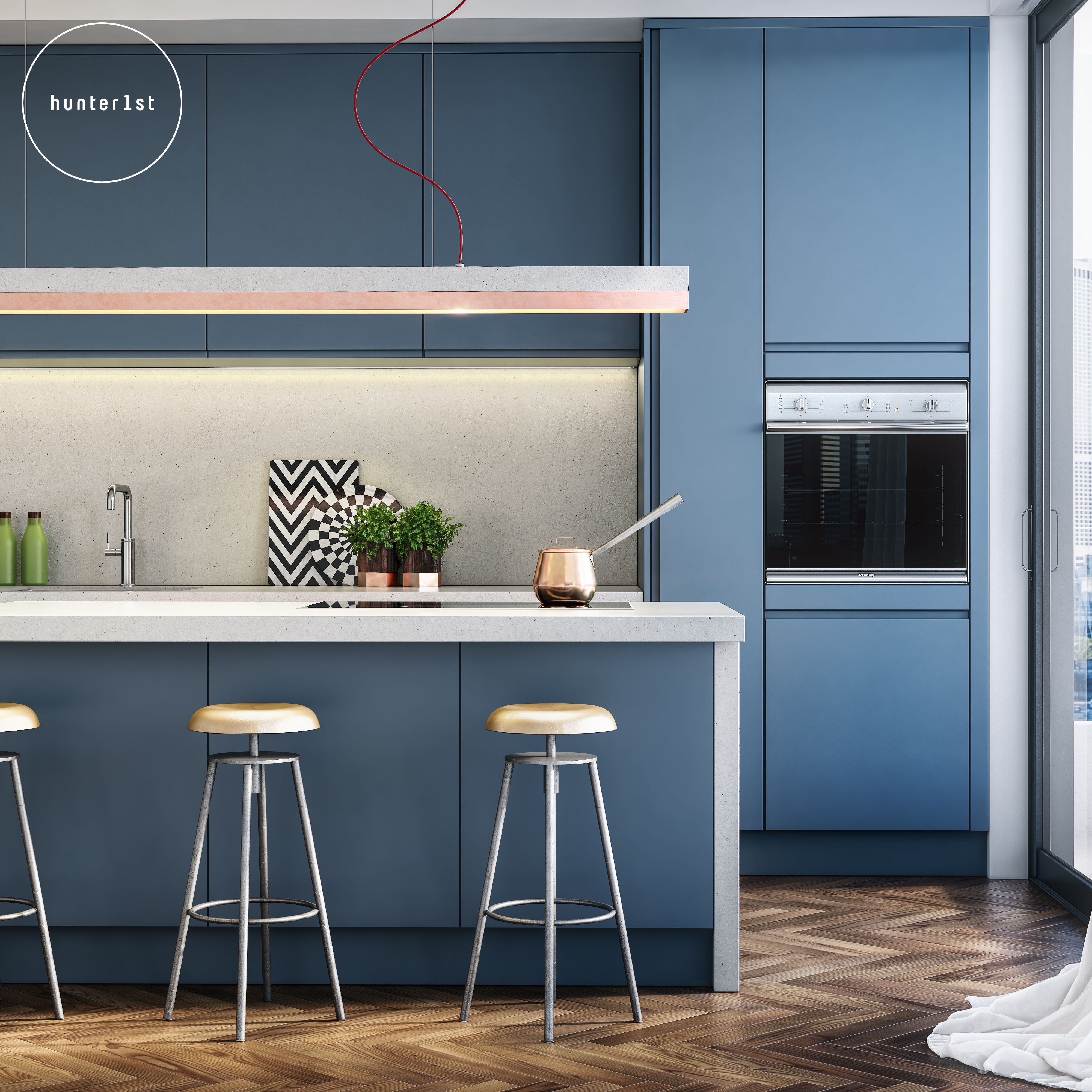 City Living by Mark Hunter. Blue Contemporary Kitchen with Gant ...