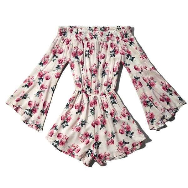 aefc4f728d Abercrombie   Fitch Floral Off The Shoulder Romper ( 25) ❤ liked on Polyvore  featuring jumpsuits