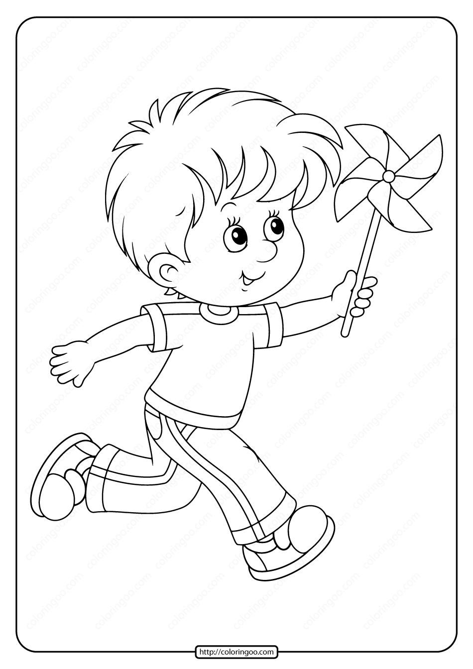 Boy Playing With Pinwheel Pdf Coloring Page Coloring Pages Boys Playing Coloring Books