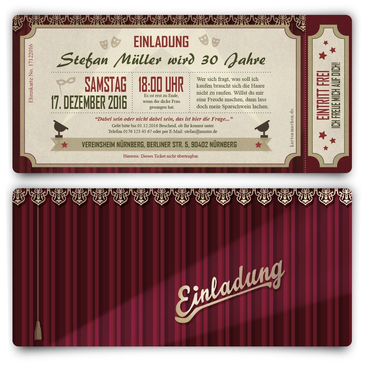 Einladungen - Theaterkarten #geburtstag #einladung ...