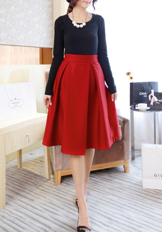 6edcbeb805 Red Plain Pleated Flared Vintage High Waisted Knee Length Audrey Hepburn  Style Retro Skirt