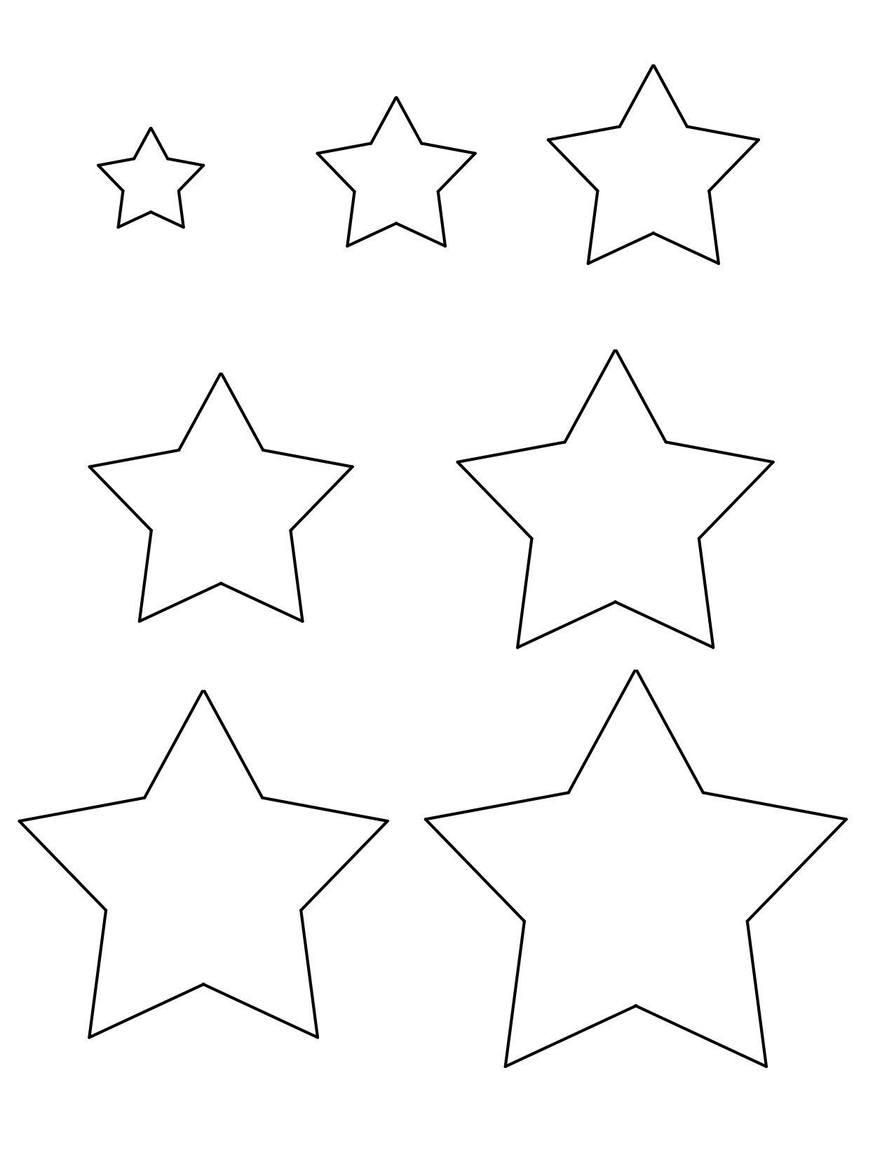 Star Templates 1 1 5 2 2 5 3 3 5 And 4 Inches Star Template Printable Star Template Stencil Patterns Templates