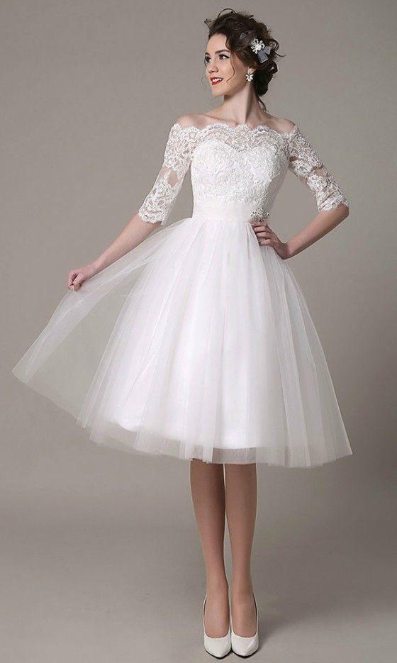 Vintage A-line Off-the-shoulder Knee-length Tulle Wedding Dress With ...