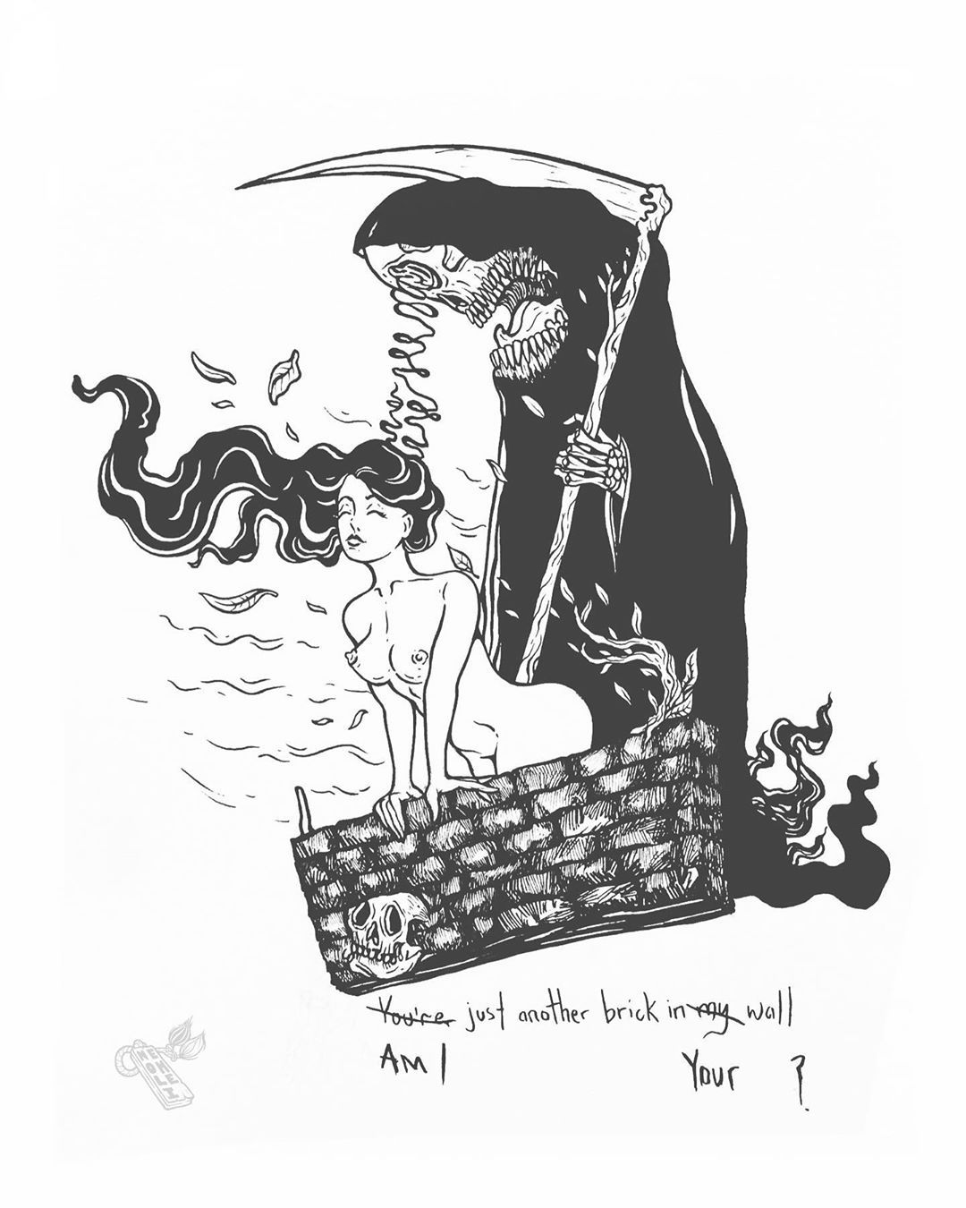 """""""Am I just another brick in your wall?"""" What do I mean to you reaper? . Pink Floyd reference . . . #lowbrow #designart #blackwork #darkillustration #nycartist #nyctattooartist #illustration #darkart #darkartist #illustrator #illustratorsoninstagram #sketches #linework #lineart #ink #inkdrawing #inkart #inkwork #tattooideas #tattoodesign #mysketchbook #drawings #draweveryday #scribbleart #scribble"""