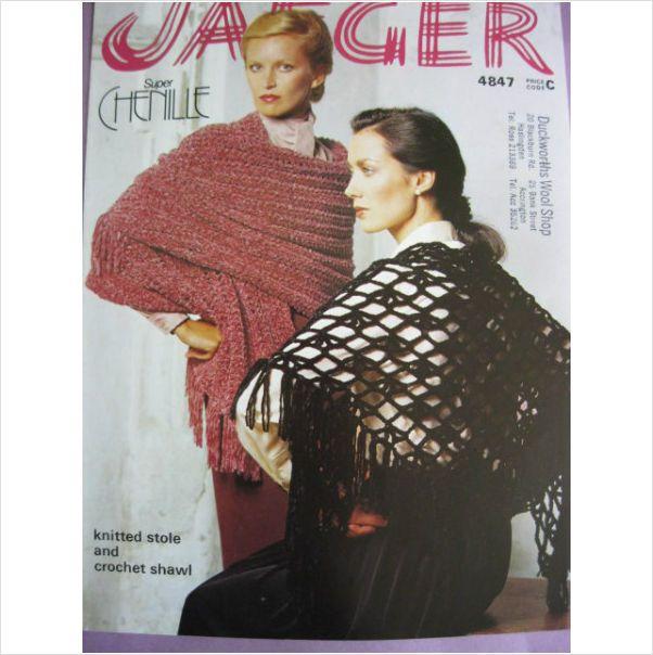 Jaeger Knitting Pattern 4847 Ladies Chenille Shawl Stole On Ebid