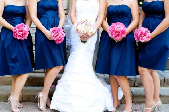 i like the pink bouquets with the blue dresses