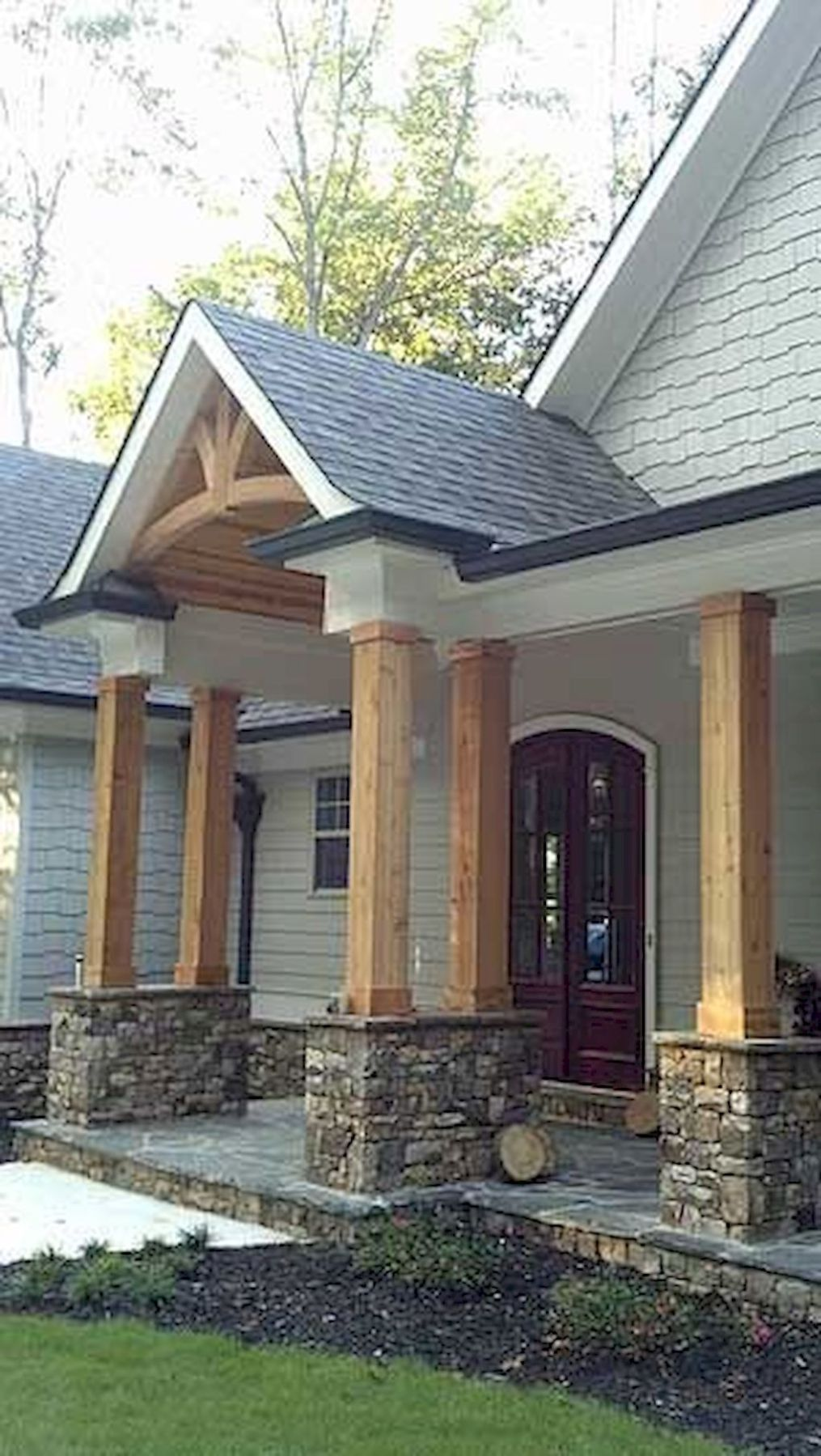 Gorgeous Wooden And Stone Front Porch Ideas 6