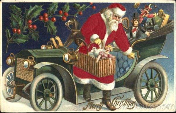 Santa In Car With Toys Claus Silk Fabric Applique Find This Pin And More On Vintage European Christmas