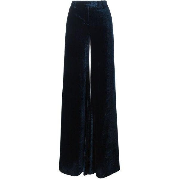Emilio Pucci Velvet Wide Leg Trousers (10.570 NOK) ❤ liked on Polyvore featuring pants, blue, blue wide leg pants, blue velvet pants, velvet trousers, black pants and velvet pants