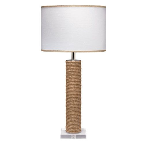jute cylinder rope one light table lamp with white linen shade rh pinterest com
