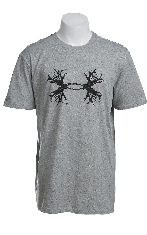 fdcb420181930 Under Armour Men's Heather Grey UA Ghost Antler Logo T-Shirt | Men's ...
