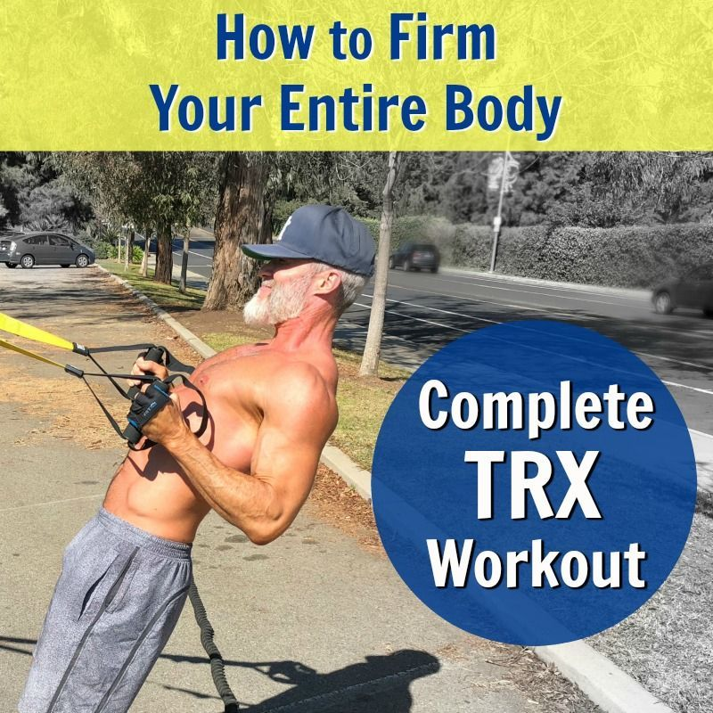 """Suspension Training with TRX straps is effective for both women and men, beginners and advanced. Here is a 15-exercise calorie-burning workout to sculpt and firm your entire body. For full inspiration, see the new article """"Suspension Training Body-Weight Exercises You Can Do Outside to Get Fit."""" #TRX #overfiftyandfit #suspension #training #over50 #straps #effective #beginners #exercises #sculpt #firm #body #fit #workout #stylenovi"""