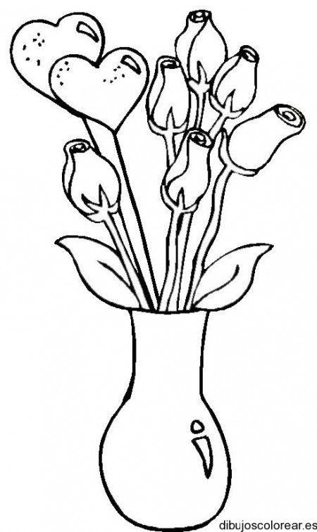 Dibujo De Jarron Con Corazones Y Flores Dibujos Para Colorear Flores Para Dibujar Tutoriales De Dibujos De Flores Dibujos De Flores Sencillos