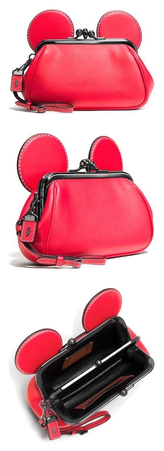 Disney X Coach Mickey Kiss Lock Wristlet in Red disney
