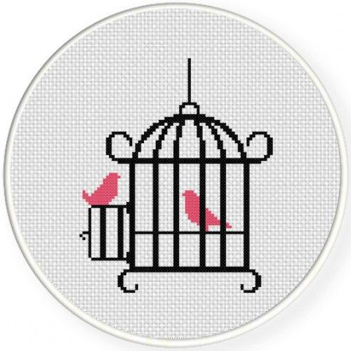 Bird Cage, Handmade Unframed Cross Stitch- Avant Garde, Bird Cage Decor, Cute Gifts, Cute Wall Art, #birdfabric