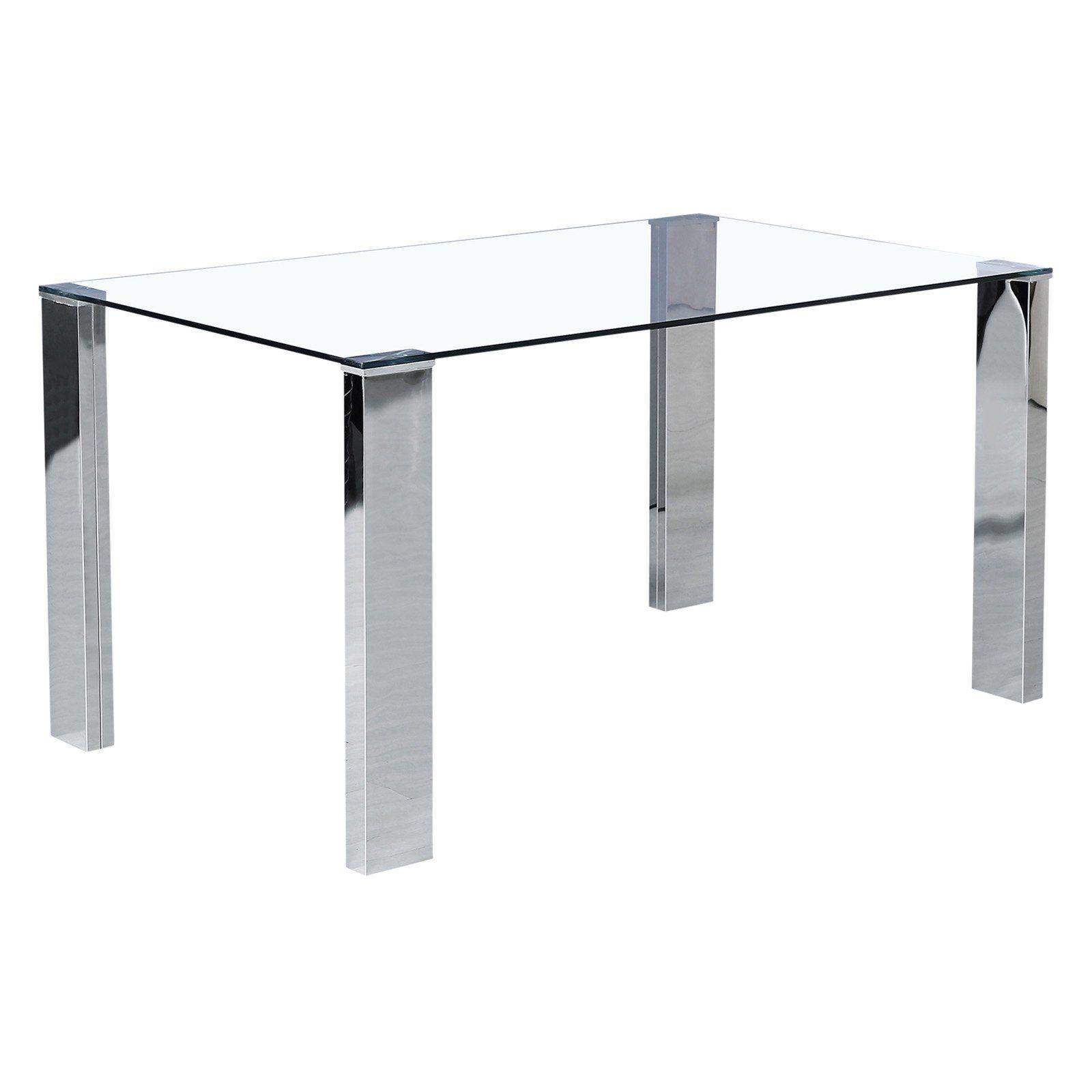 Worldwide Home Furnishings Rectangular Glass Dining Table | Glass dining table, Glass top dining ...
