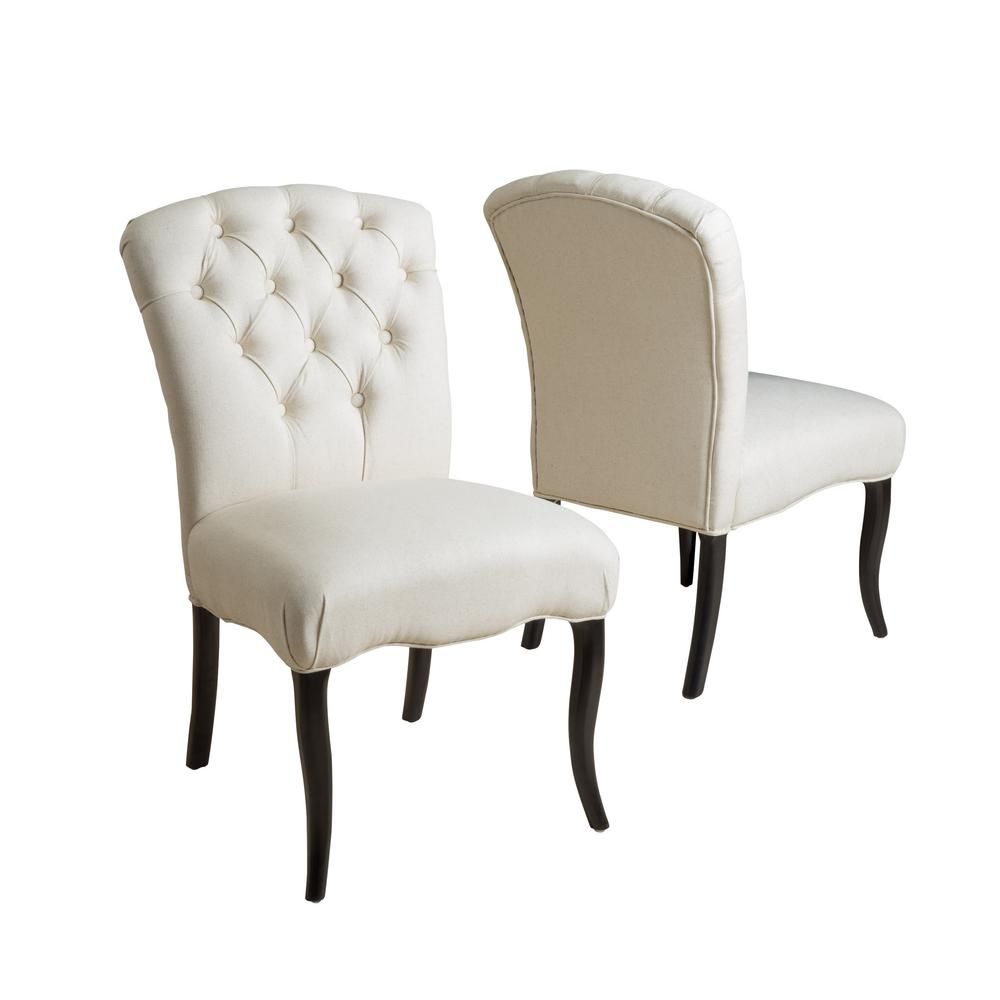 Noble House Hallie Linen Fabric Tufted Dining Chair Set Of 2 5357 The Home Depot In 2020 Tufted Dining Chairs Dining Room Spaces Beige Dining Chair