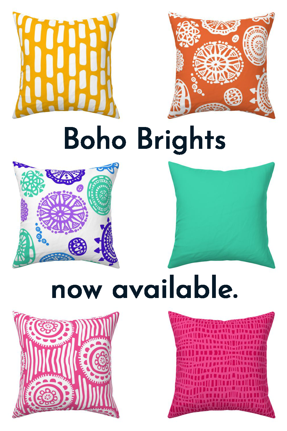 Boho Brights home decor collection now at Spoonflower