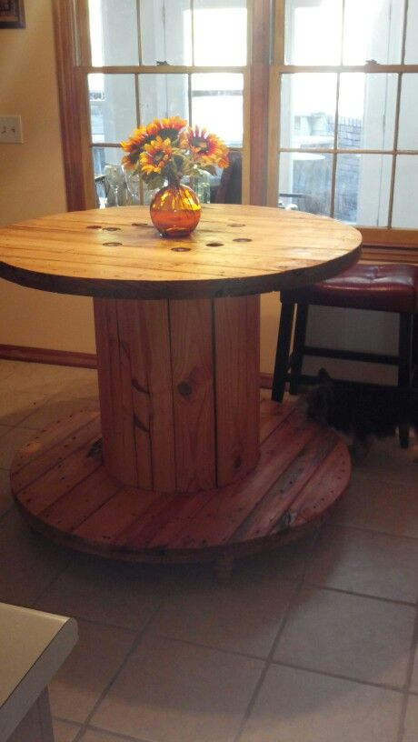 exciting cable spool kitchen table | Diy kitchen island made from cable spool!/ kitchen island ...