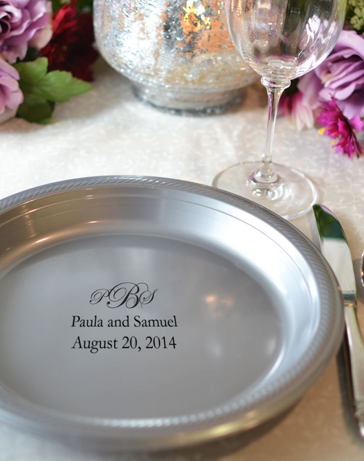 Add a unique accent to your wedding reception buffet table with disposable plastic dinner plates personalized with a wedding design and up to 4 lines of ... & 10 In Custom Printed Plastic Wedding Plates (Set of 25) | Pinterest ...