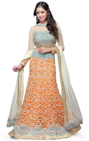 Picture of Butta Deep Orange Wedding Lehenga Choli Amazing Wedding