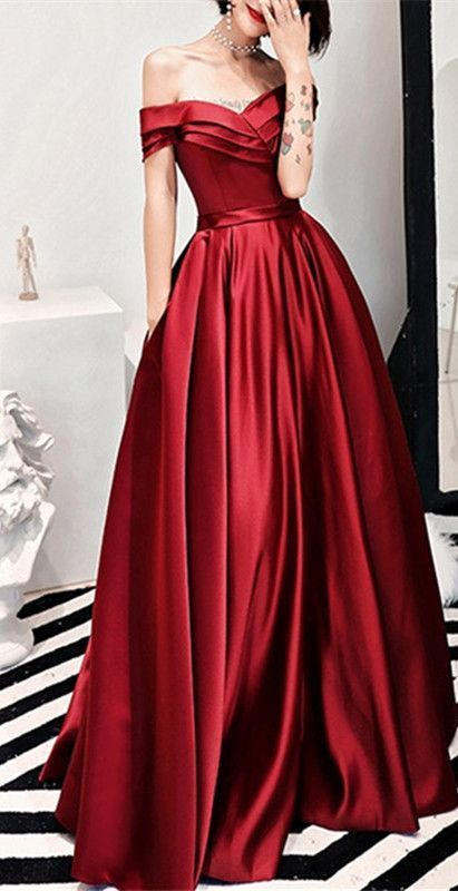 536d84b16ea Sexy Off Shoulder Long Satin Prom Dresses With Pocket ...