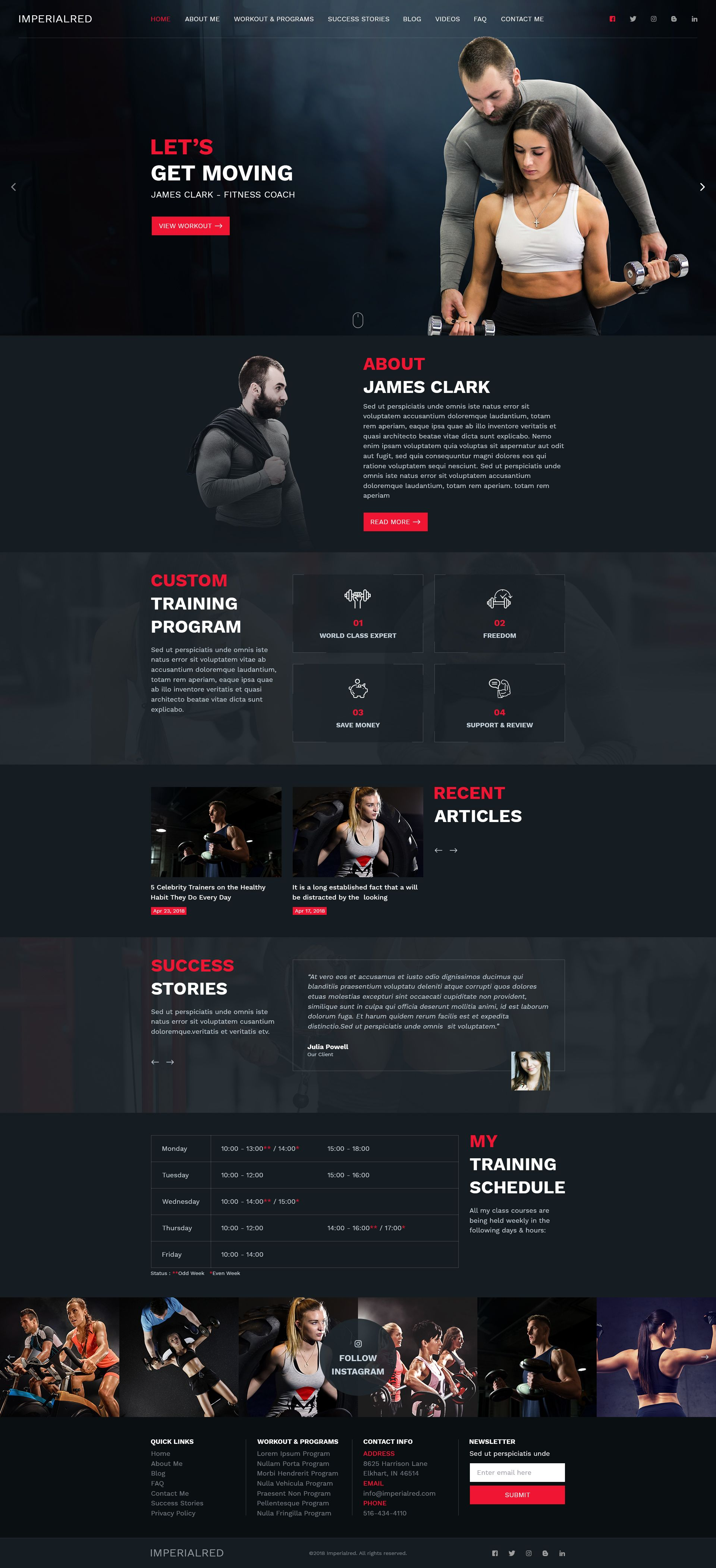 Personal Trainer Website PSD Template