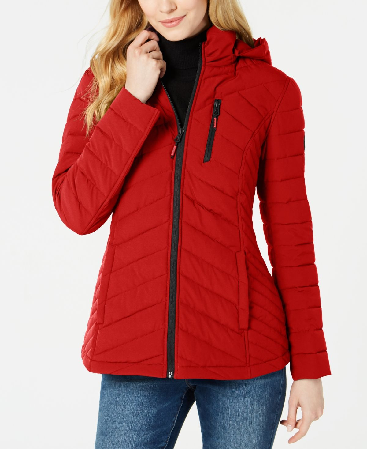 Nautica Hooded Packable Puffer Coat Nautica Red Coats For Women Red Puffer Jacket Puffer Coat [ 1466 x 1200 Pixel ]