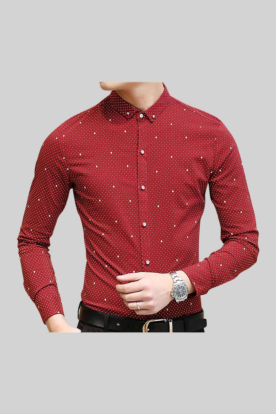 Slim Fit Polka Dots Long Sleeve Men's Shirt In Red