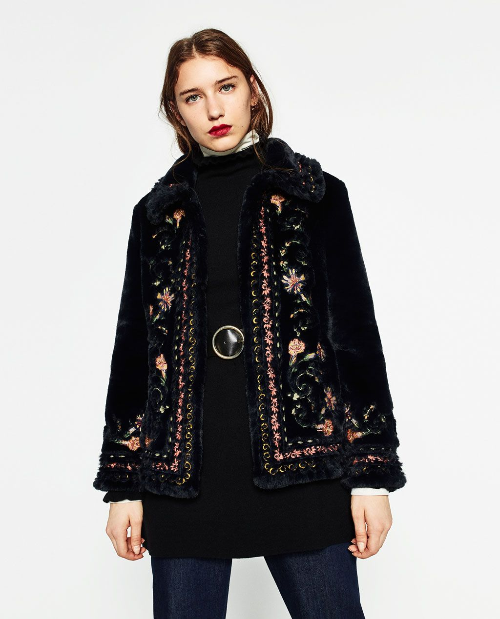 Embroidered faux fur jacket view all outerwear woman