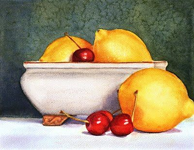 Krista Hasson Still Life Watercolor Painting With Lemons And