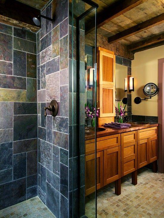 35 magnifiques salles de bains en pierre brute   Idées Déco Salle ...
