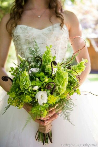 Lovely Bridal Bouquet Composed Of Green Button Mums Green Bells Of Ireland Green Bupleurum Green Wedding Bouquet Woodland Wedding Bouquet Bridal Traditions