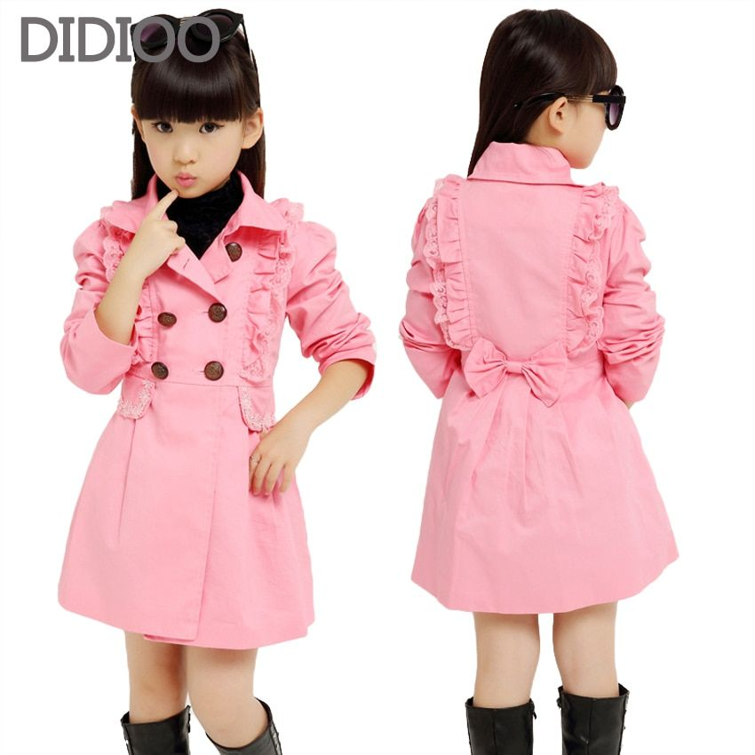 50c398f8ec9d Big Girls Trench Coats Long Cotton Jackets For Girls Outerwear Lace ...