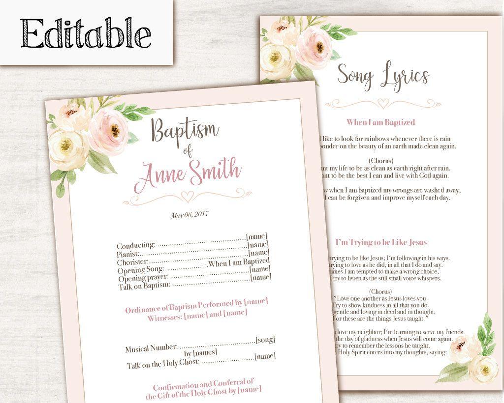 Baptism Program, Editable PDF, Printable Digital Handout